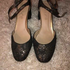 Unisa Black and Gold block heel double strap shoes